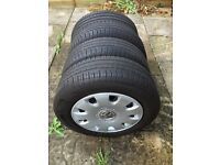 15 inch VW wheels, tyres as well as wheel trims