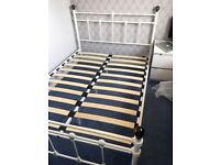 """Standard Double Bed Frame, Victorian Traditional 4'6"""" x 6'6"""", Metal, White, With Slats - AS NEW"""