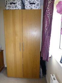 Ikea wooden wardrobe (H200cm W100cm D60cm)