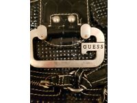 Guess navy handbag with hand strap and detachable shoulder strap
