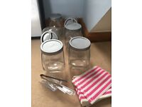 Sweet jars, bags and tongs