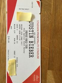 DISCOUNTED!! Justin Bieber - 2x tickets Purpose World Tour 30 June 2017 Principality Stadium
