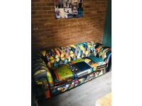 STUNNING 3 seater fabric patchwork sofa