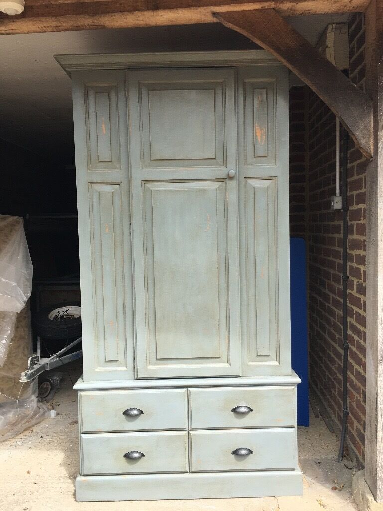 painted blue grey shabby chic pine wardrobe for sale in. Black Bedroom Furniture Sets. Home Design Ideas