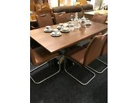 Modern-Never Used-extendable table and six leather chairs