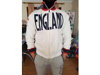 ENGLAND EROI WHITE KAPPA VINTAGE 90s SOCCER TRACK JERSEY JACKET FOOTBALL COTTON FLEECE WARM MEDIUM