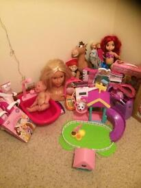 TOYS BUNDLE FOR GIRLS, ROLLER BOOTS, SHOPKINS SET, CHUBBY PUPPIES SET AND MORE