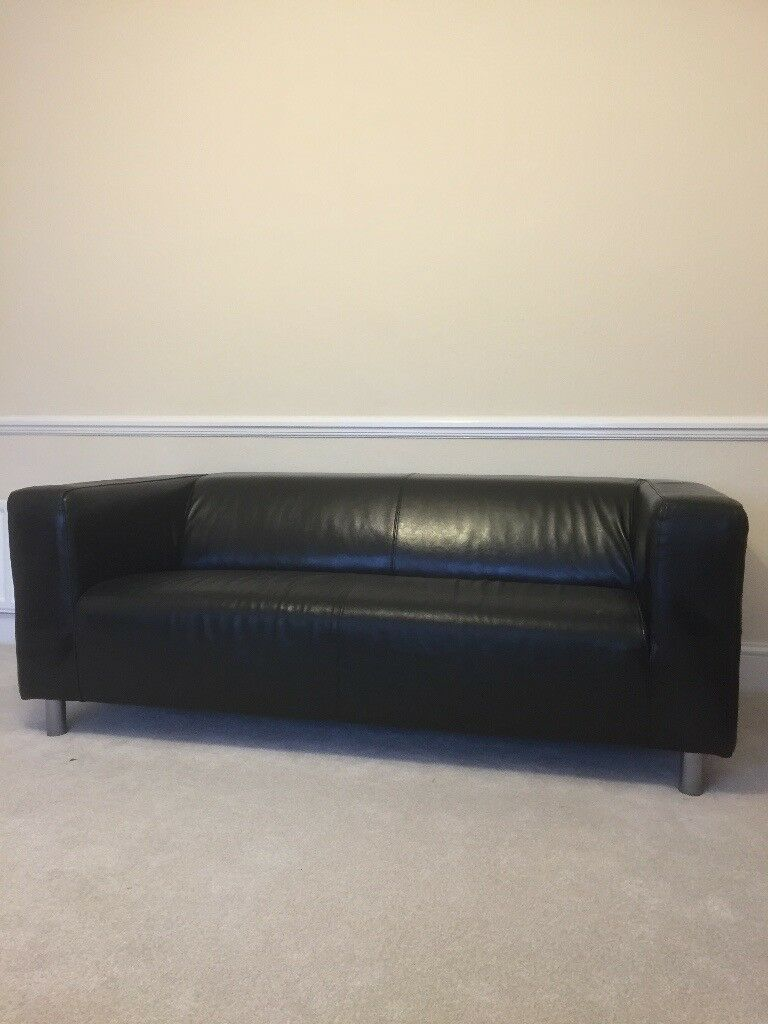 Stylish Black Leather Sofa