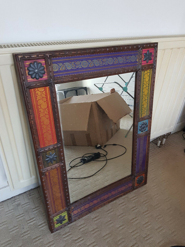 Large Colourful Moroccan Wooden Mirror The Pier