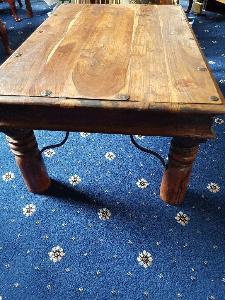 Mexican Pine Coffee Table 36 X 24 15 Inches Black Studs On Top
