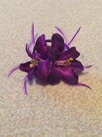 Purple flower hair bobble