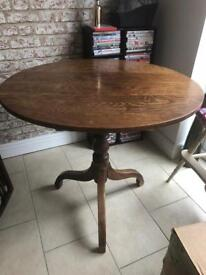 Elm flip top table, two mahogany chairs and antique captains table