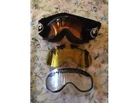 Dragon DX goggles - used for 2 weeks with 3 lenses - black - perfect for all conditions