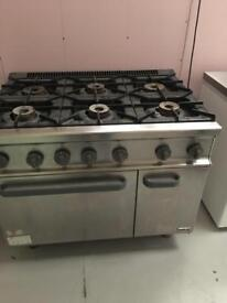 Fagor 6 burner industrial gas double oven
