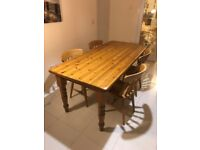 Solid Pine 6ft dining table & 4 Chairs