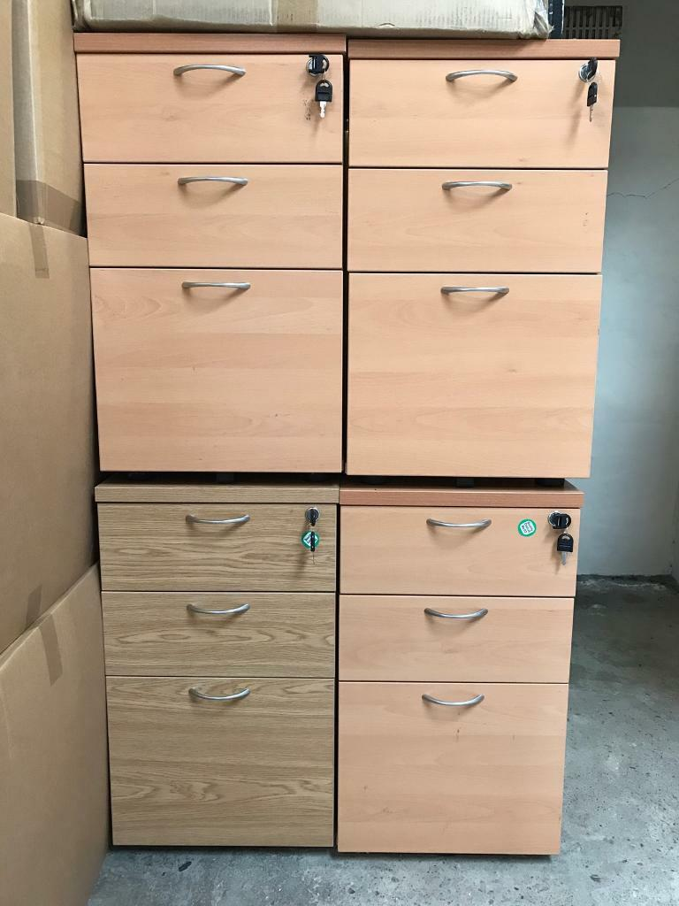 3 drawer pedestal with lock and keys