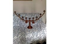 PAIR OF CHURCH CANDLESTICKS in BRASS - 95 CENTIMETRES WIDE - 54 CENTIMETRES HIGH -