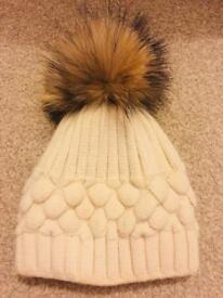 Winter Hat With Faux Fur Bobble