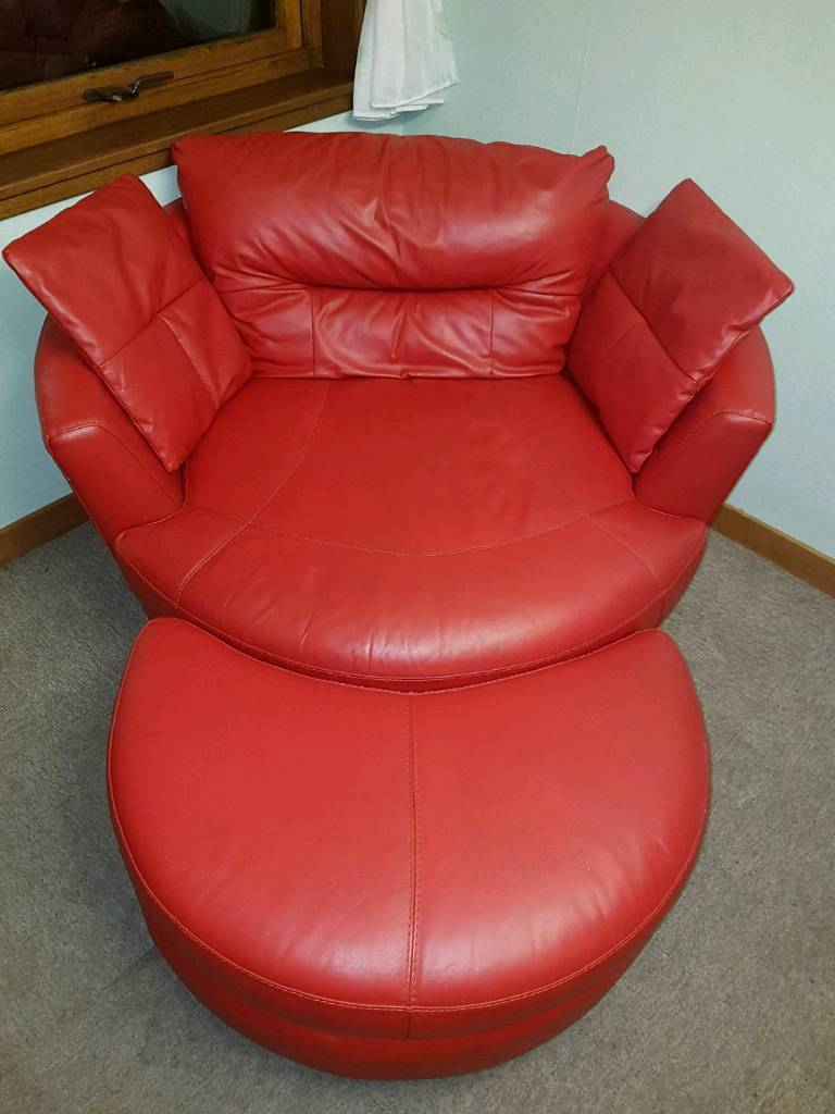 Superb Dfs Red Leather Swivel Cuddle Chair Sofa Half Moon Footstool In Dingwall Highland Gumtree Bralicious Painted Fabric Chair Ideas Braliciousco