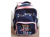 Child's Wheeled Trolley Funky Friends Rucksack Travel Luggage Bag - in good condition.