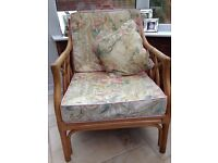 Cane conservatory chair & sofa with cushions