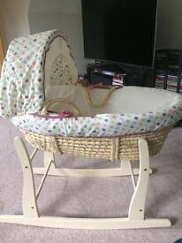 Lolly pop lane Moses basket and rocking stand.
