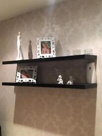 2 Black high gloss floating shelves