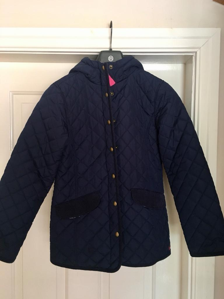 Joules girls navy quilted coat age 11-12