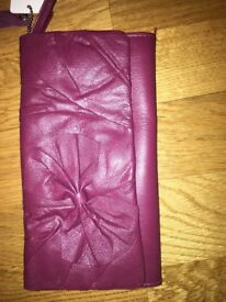 Great gift idea? Ladies burgundy leather purse with bow. New.