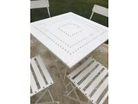 Outdoor table and chairs set white