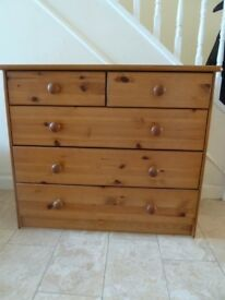 Small IKEA Chest of Drawers Pine with Five Drawers