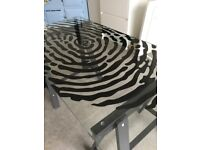 Glass top desk with trestle legs