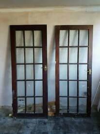 Pair of hardwood doors