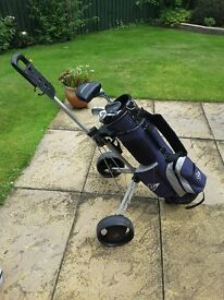 Junior golf clubs and folding trolley