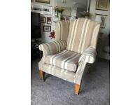 Fabric Queen Anne Wing Back Chair