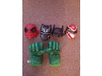 super hero masks and Hulk smash hands for kids