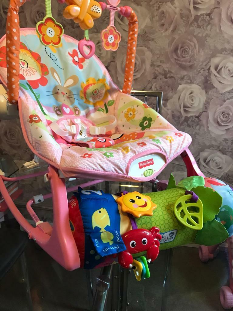 Baby bouncer rocker chair & tummy time roll and play fisher price and baby Einstein