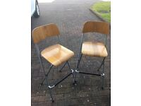 Pair of matching Ikea folding wooden bar stools