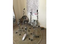 Pearl and Tama Hardware for sale all sturdy and up to the task.