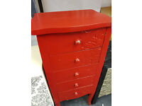 Red 5 drawer wooden cabinet