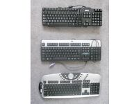 3 Computer Keyboards - Dell, HP, AGK