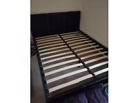 King Size Bed Frame - Black Faux Leather, Wooden Slats