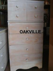 "High Dresser 48x24x14"" OAKVILLE Rustic Shabby Chic White knobs Solid Wood Tall Streaky Painted Chest of 6 drawers Storag"