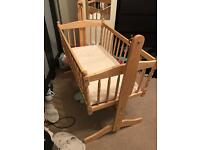 Baby swinging crib and mattress