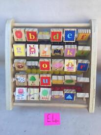 Double sided wooden abacus and ABC Tory