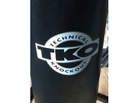 TKO boxing bag, heavy duty stand, mits and gloves