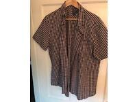 mens ff ( tesco) short sleeved shirt size xl very good condition ( pink- blue)