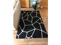 Large black and white geometric rug