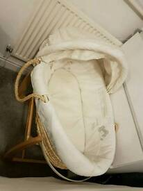Mamas n papas moses basket with hood in neutral