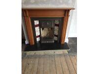Cast Iron fireplace, pine surround, slate hearth